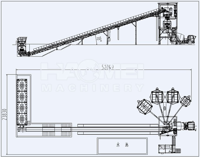 Cement Plant Structure : Hzs belt conveyor concrete batching plant